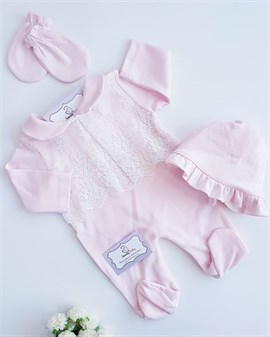 Baby Collar Lace Jumpsuit- PINK