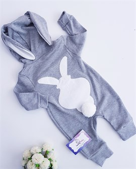 Bunny Pompon Zipper Jumpsuit - LIGHT GREY