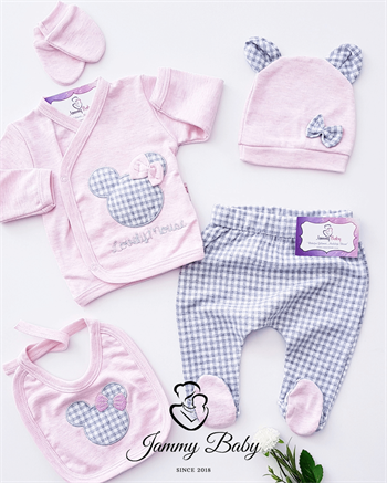5 Piece Minnie Mouse Checkered Romper Set - PINK